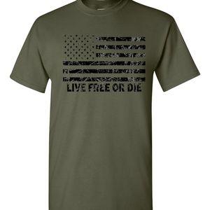 Live Free or Die distressed American Flag T shirt